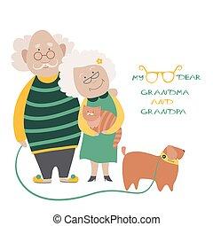 hun, paar, dog, bejaarden