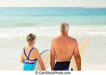 hun, paar, strand, surfboard