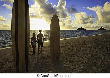 hun, paar, strand, surfboards