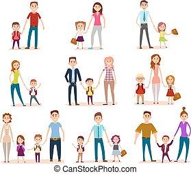 hun, school, ouders, kinderen, verzameling