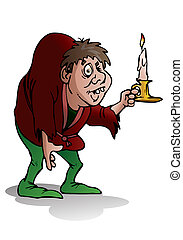 hunchback - illustration of a hunchback man hold candle on...