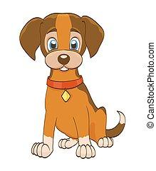 hund, abbildung, kragen, vektor, white., junger hund, ...