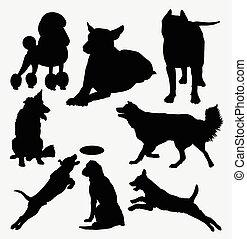 hund, däggdjur, silhuett