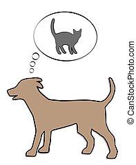 hund, gedanke, katz, jagen, balloon, denken