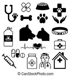 hund, katt, vektor, läkare, sätta, kollektion, eller, veterinär