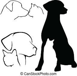 hund, &, katz, silhouetten