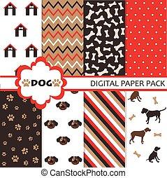 hund, mønster, sæt