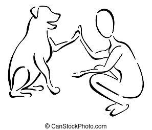 hund, mann, friends