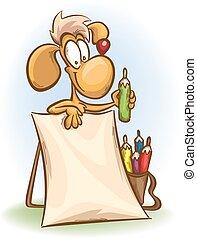 hund, med, blyertspenna, och, tom, affisch