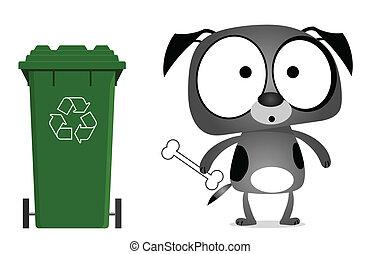hund, meddelande, återvinning