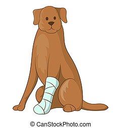 hund, mit, ein, verletzt, bein, ikone, karikatur, stil