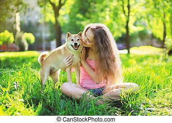 hund, och, ägare, sommar