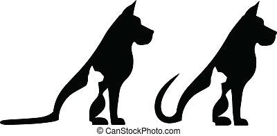 hund, och, katt, komposition