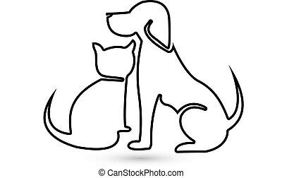 hund, och, katt, silhuett, logo