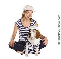 hund, och, kvinna, in, studio
