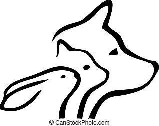 hund, og, kat, hoveder