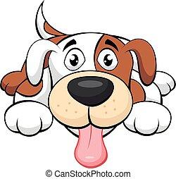 hund, söt, tecknad film