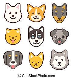 hund, satz, karikatur, gesichter