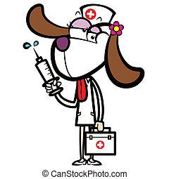 hund, satz, spritze, hilfe, krankenschwester, karikatur, zuerst