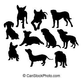 hund, silhouettes