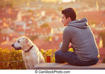 hund, sonnenaufgang, mann