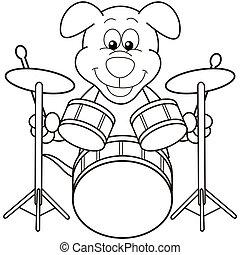 hund, spielen trommeln, karikatur