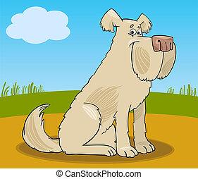 hund, struppig, karikatur, abbildung, schäferhund