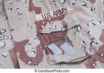 hund, tags, på, camouflage, baggrund