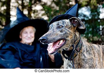 hund, und, älter, in, hexe, kostüm