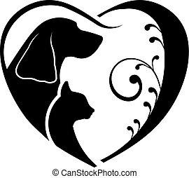 hund, und, katz, liebe, heart., vektorgrafik