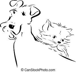 hund, und, katzenkinder, silhouetten