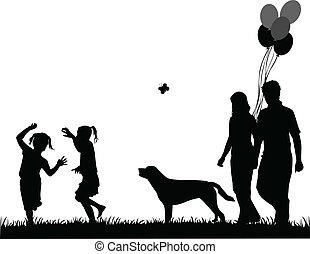 hund, vectors, abbildung, familie, spaziergang