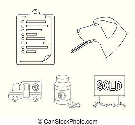 hund, .vet, sätta, skissera, ikonen, veterinär, symbol, web., stil, kollektion, klinik, vektor, illustration, termometer, sjukhus, block