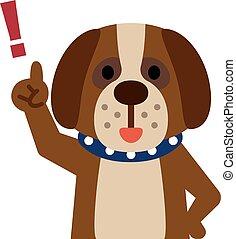 hund, zeigen finger