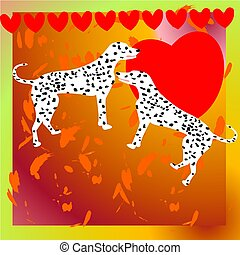 hunde, dalmatian, to, illustration, valentine
