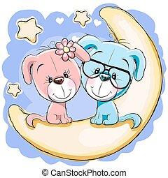 hunde, to, måne
