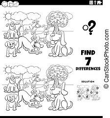 hunden, färbung, unterschiede, spiel, karikatur, seite, buch