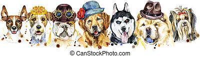 hunden, porträts, dekoration, aquarell, umrandungen