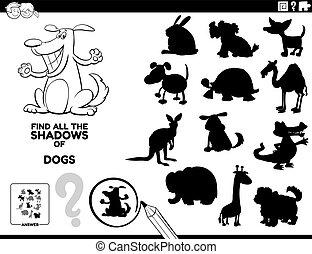 hunden, schatten, spiel, farbe, seite, buch