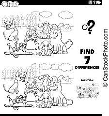 hunden, unterschiede, aufgabe, gruppe, karikatur, farbe, seite, buch