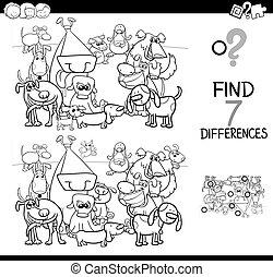 hunden, unterschiede, spiel, farbton- buch