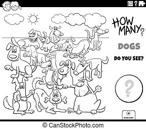 hunden, zählen, erzieherisch, färbung, spiel, seite, buch