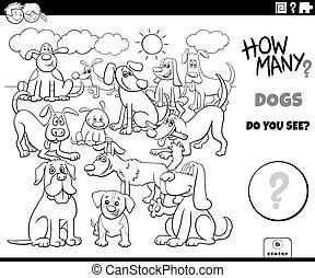 hunden, zählen, erzieherisch, spiel, farbe, buch