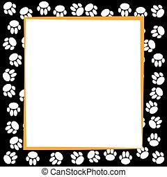 hundepfoten, umrandungen, auf, schwarz, hintergrund.