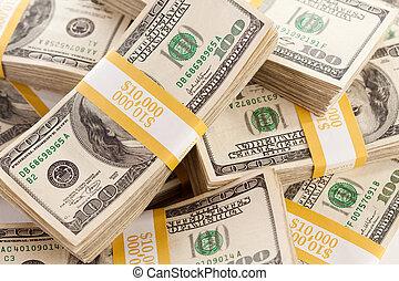 hundert, rechnungen, dollar, stapel, eins
