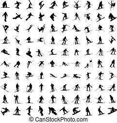 hundert, silhouette, skiers., eins