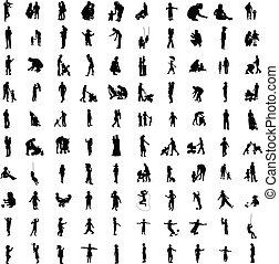 hundert, silhouetten, von, elternteil