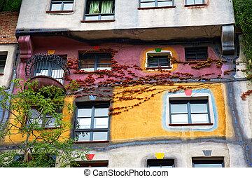 hundertwasser, haus, 在, 維也納, 奧地利