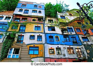 Hundertwasser Haus in Vienna - The Hundertwasserhaus is an...