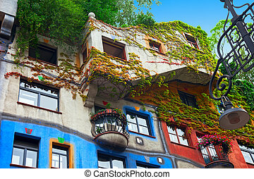 Hundertwasser House (Hundertwasserhaus) - a house in Vienna, Austria. Designed by Austrian artist and architect Friedensreich Hundertwasser with the architect Josef Cravinho.
